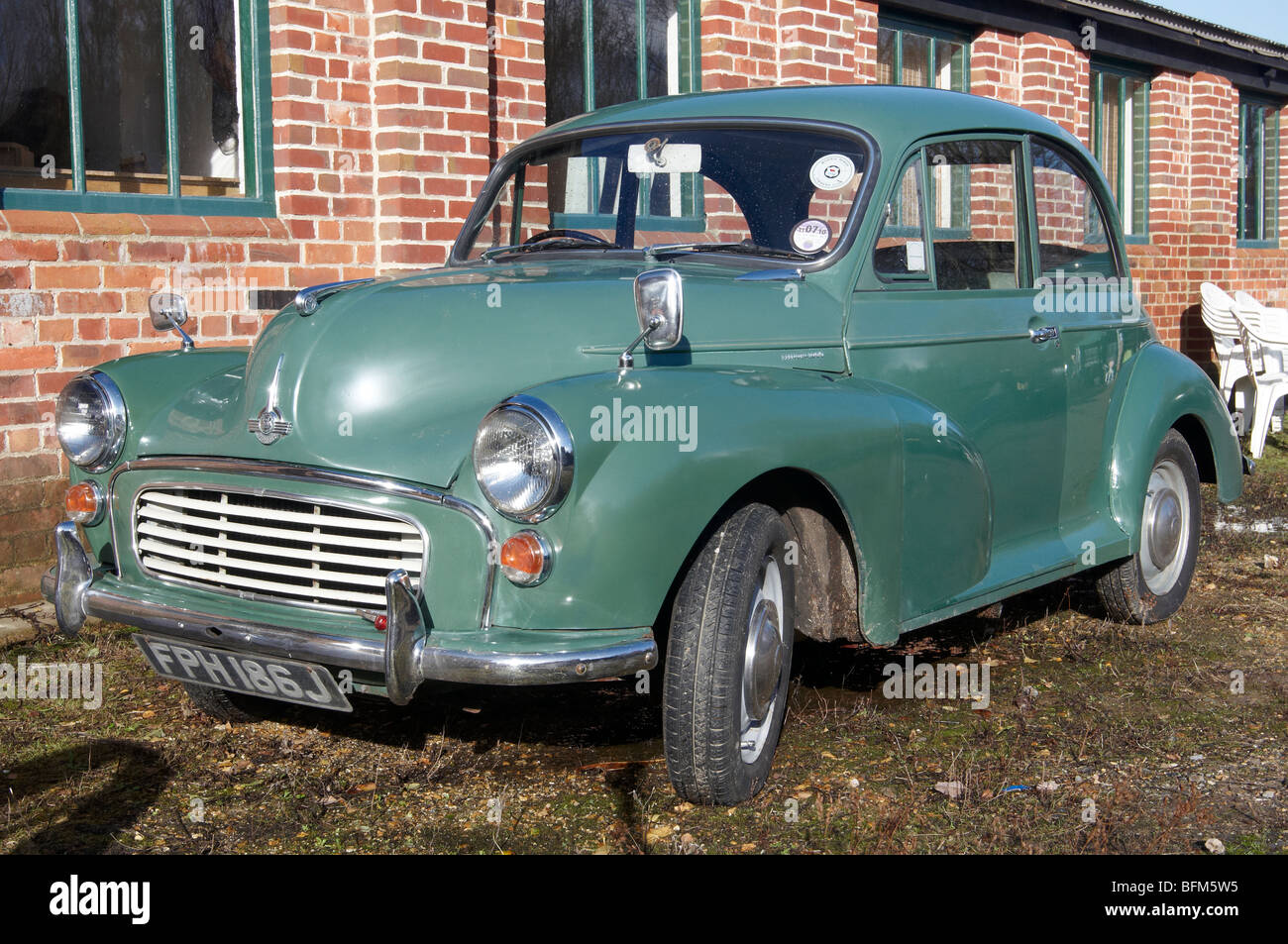 Morris Minor 1000 of 1970 - last year of manufacture  - in original condition and classic green paint. Stock Photo