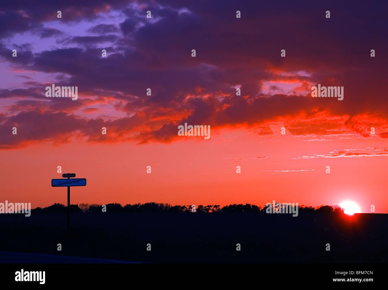 Orange and purple sunset - Stock Image