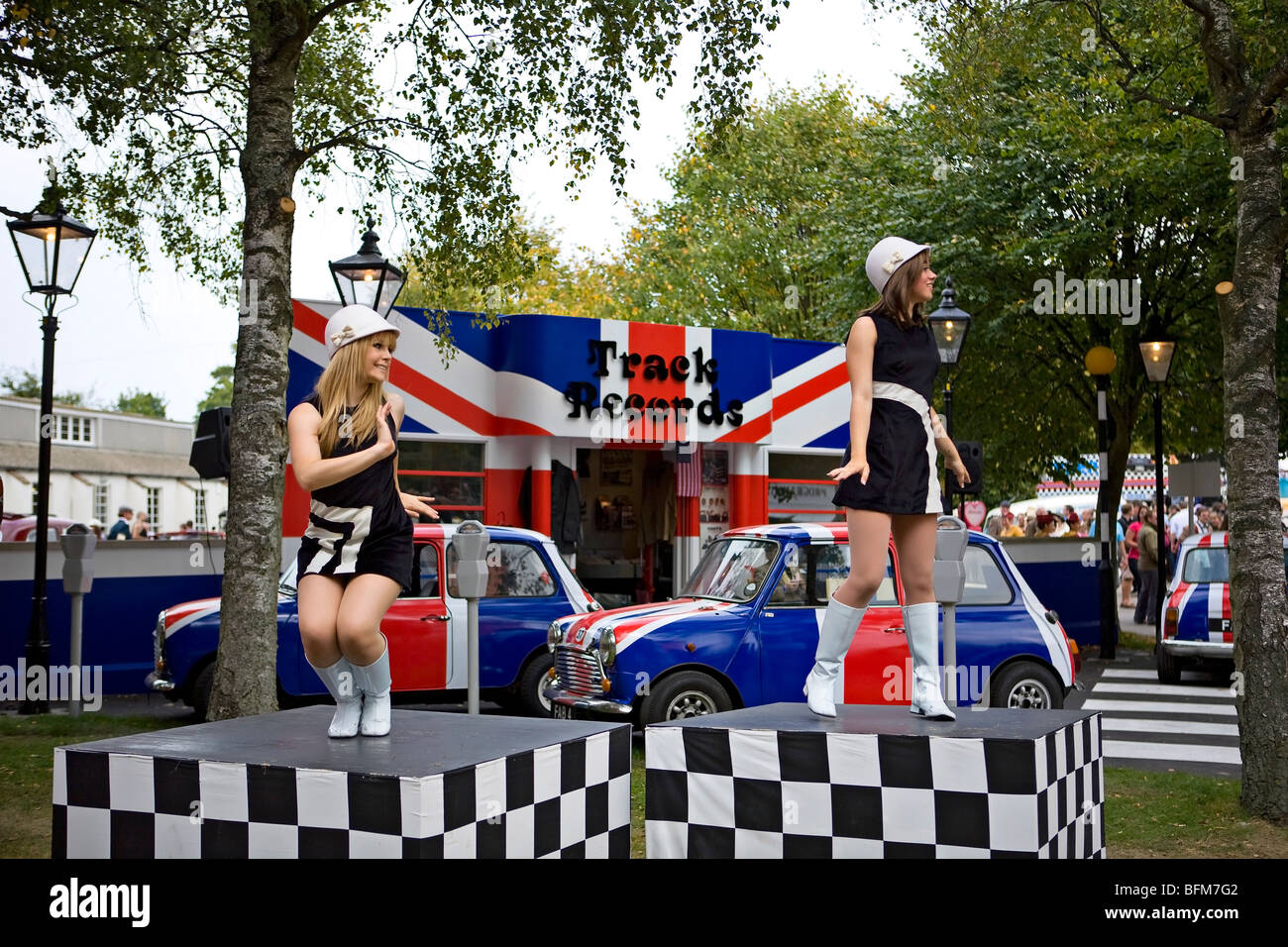 Sixties dancing girls at Goodwood Revival, Chichester, West Sussex, England - Stock Image