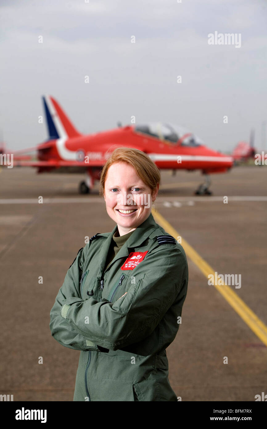 First ever female pilot with the RAF display team the Red Arrows, Kirsty Moore. - Stock Image