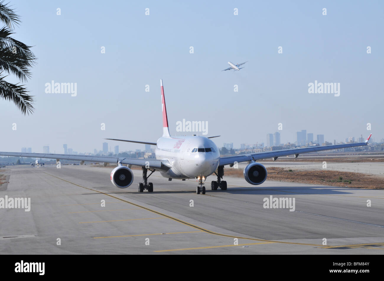 Israel, Ben-Gurion international Airport SWISS passenger jet ready for takeoff - Stock Image