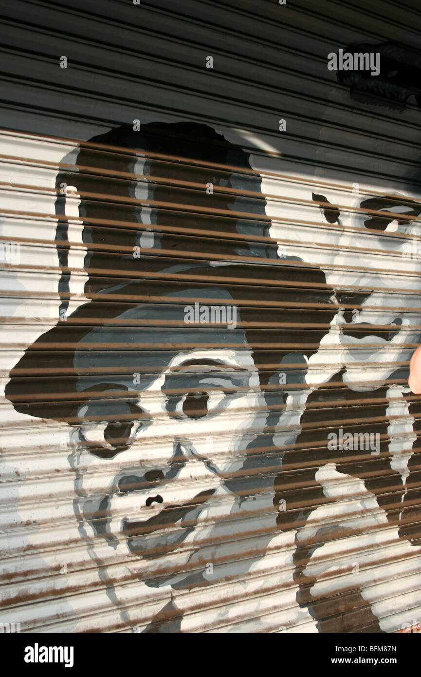 Painting on a garage of Edgar Bergen, ventrolquist, puppeteer - Stock Image
