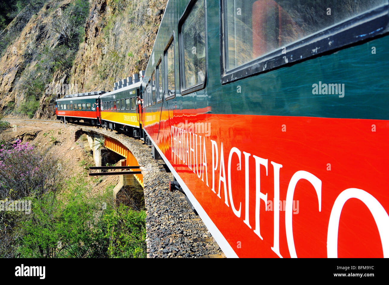 Chepe: Colorful Train Chihuahua to Pacific, North Mexico - Stock Image