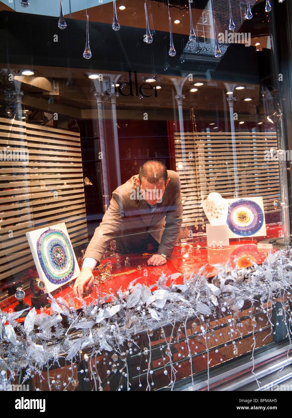 Christmas display in jeweller's shop, Old Bond Street, Mayfair, London, England, UK - Stock Image