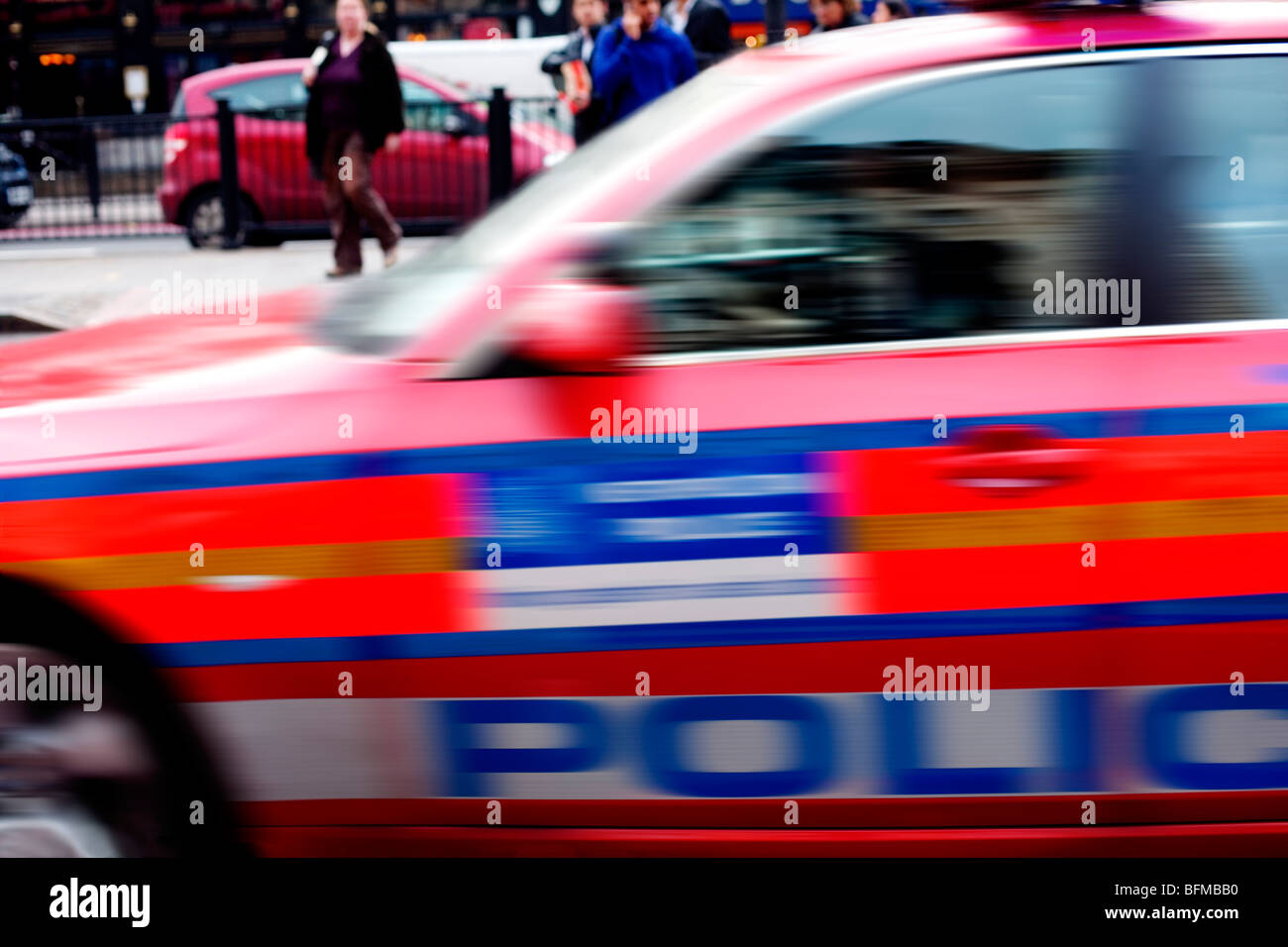 Police car at speed, Marylebone Road, London, England, UK, Europe, Europe Stock Photo