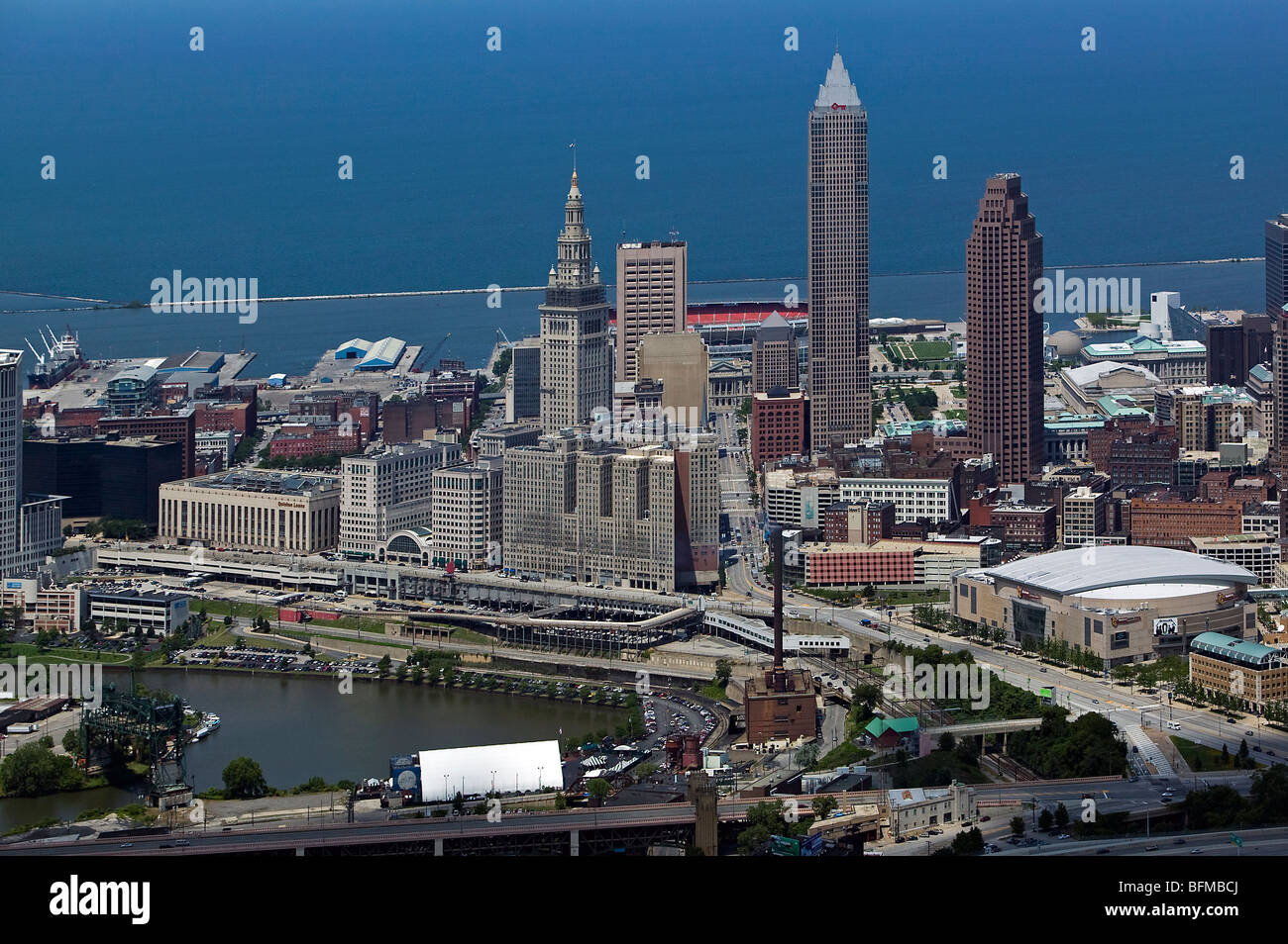 aerial view above downtown Cleveland Ohio Cuyahoga river Lake Erie - Stock Image