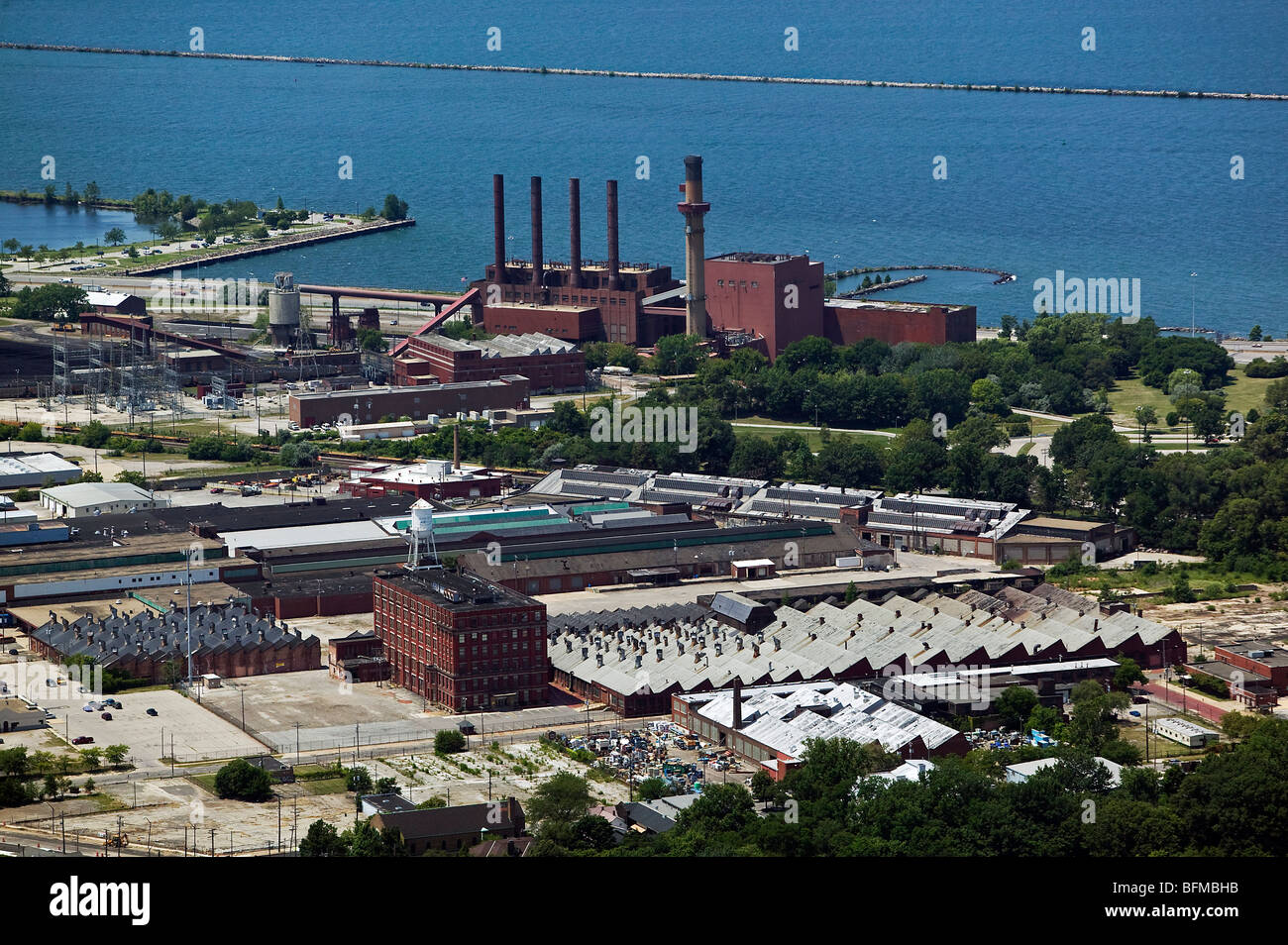 aerial view above Cleveland Electric Illuminating Company Lake Erie waterfront power plant - Stock Image