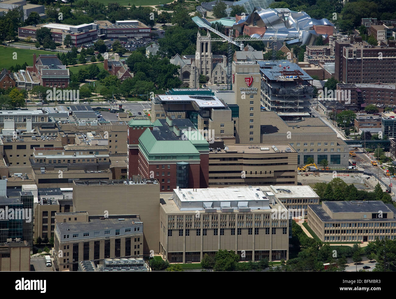 aerial view above Cleveland Clinic hospital Ohio - Stock Image