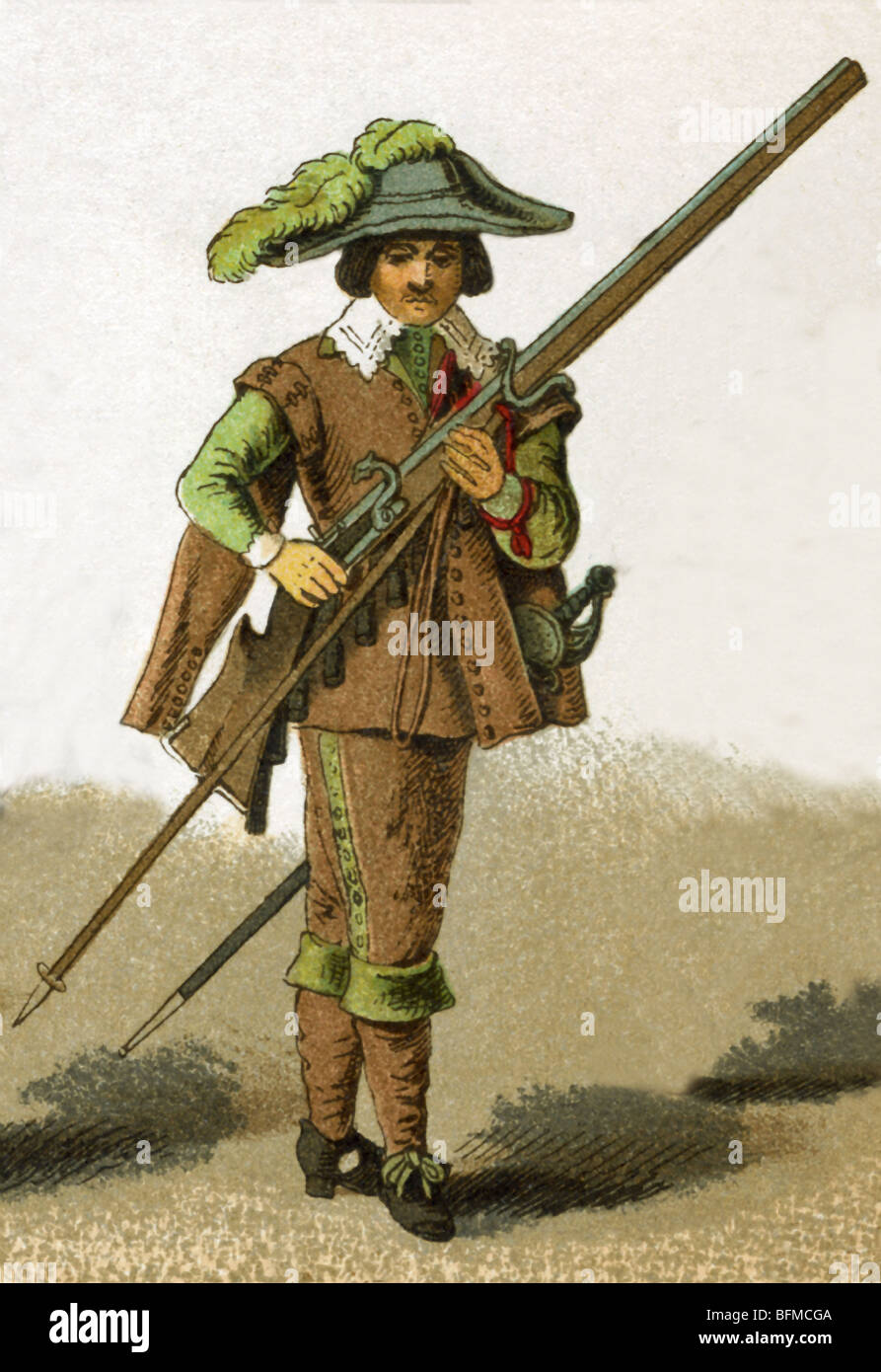 The dress of a Netherlands soldier shown in this illustration dates to 1600. This illustration dates to 1882. - Stock Image