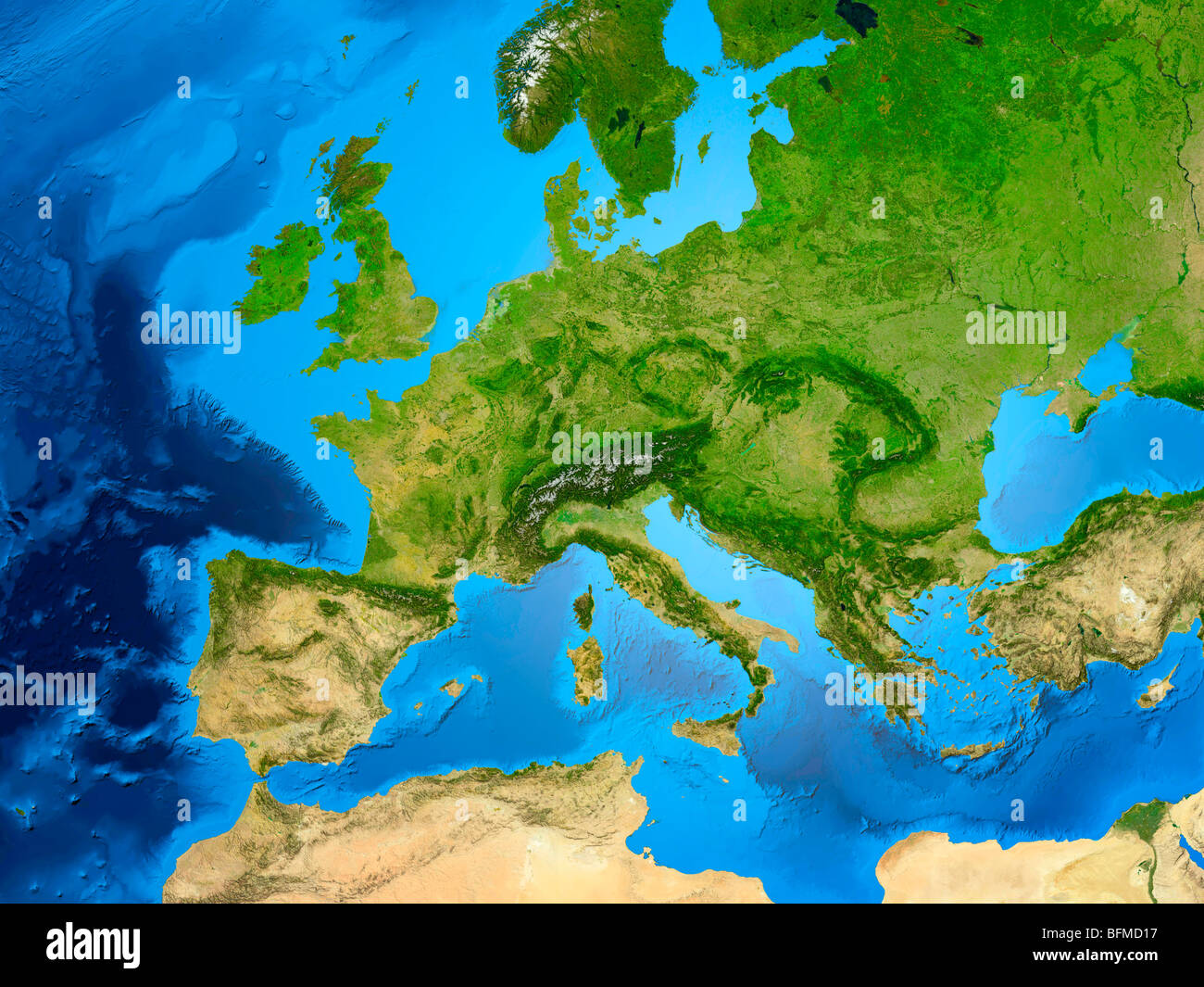 View of the Earth globe from space showing European continent - Stock Image