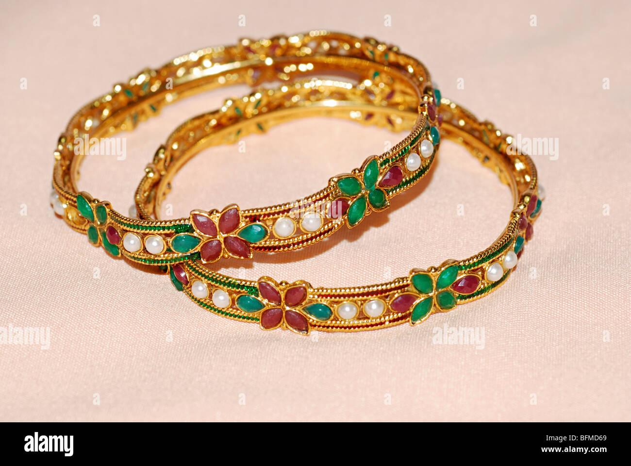 Jewelry. Stone studded Bangle set. - Stock Image