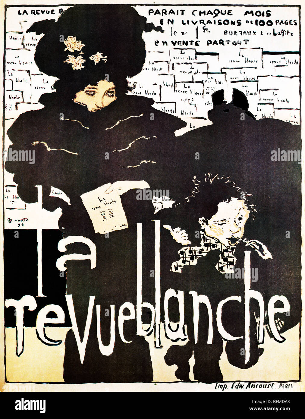 Bonnard, La Revue Blanche, 1894 Art Nouveau poster by Pierre Bonnard for the leading literary revue from the brothers - Stock Image