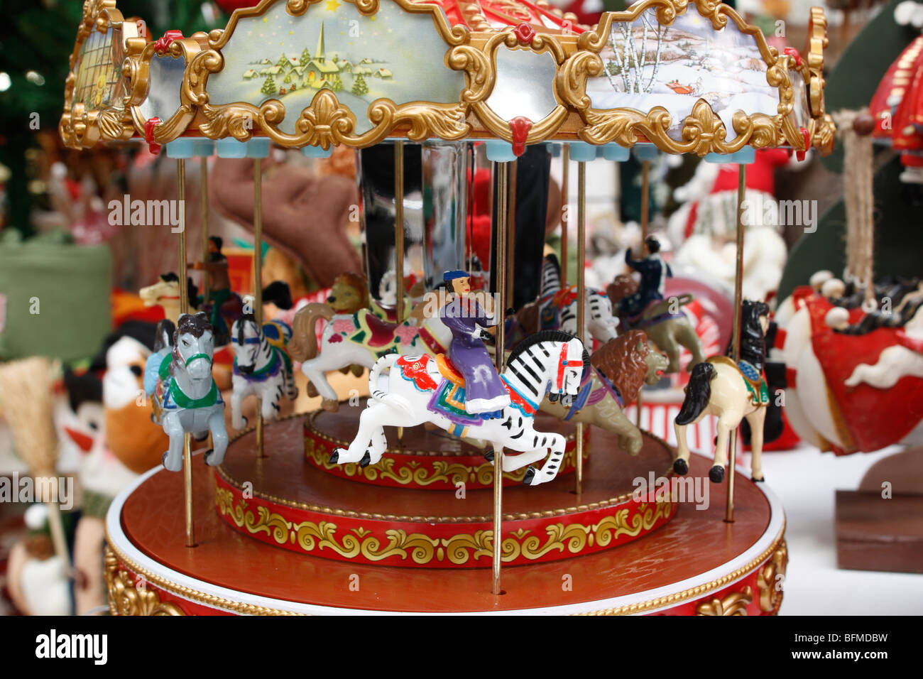 christmas carousel seasonal decoration stock image