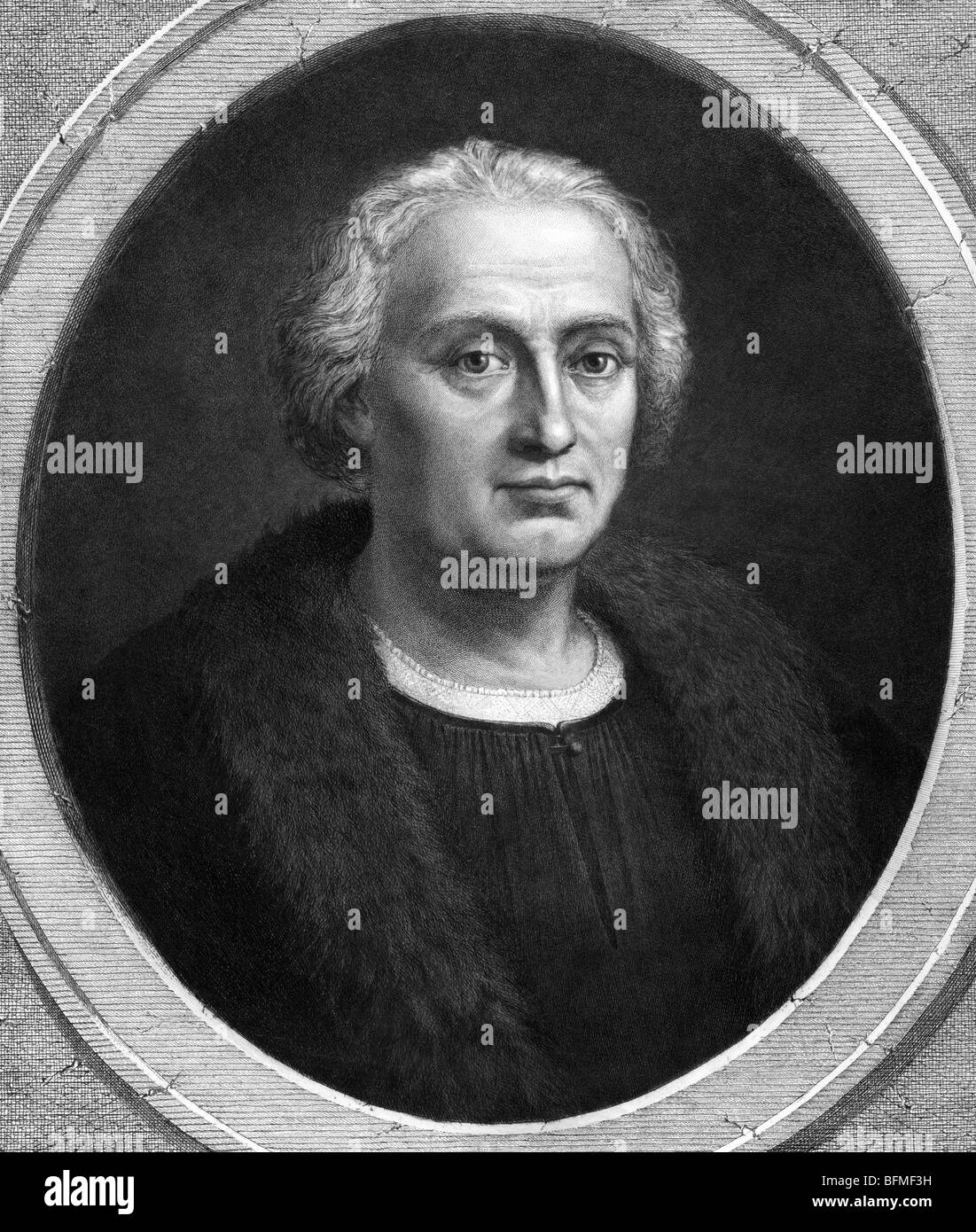 "Portrait print c1892 of explorer Christopher Columbus (c1451 - 1506) - the  ""discoverer"" of America in 1492."