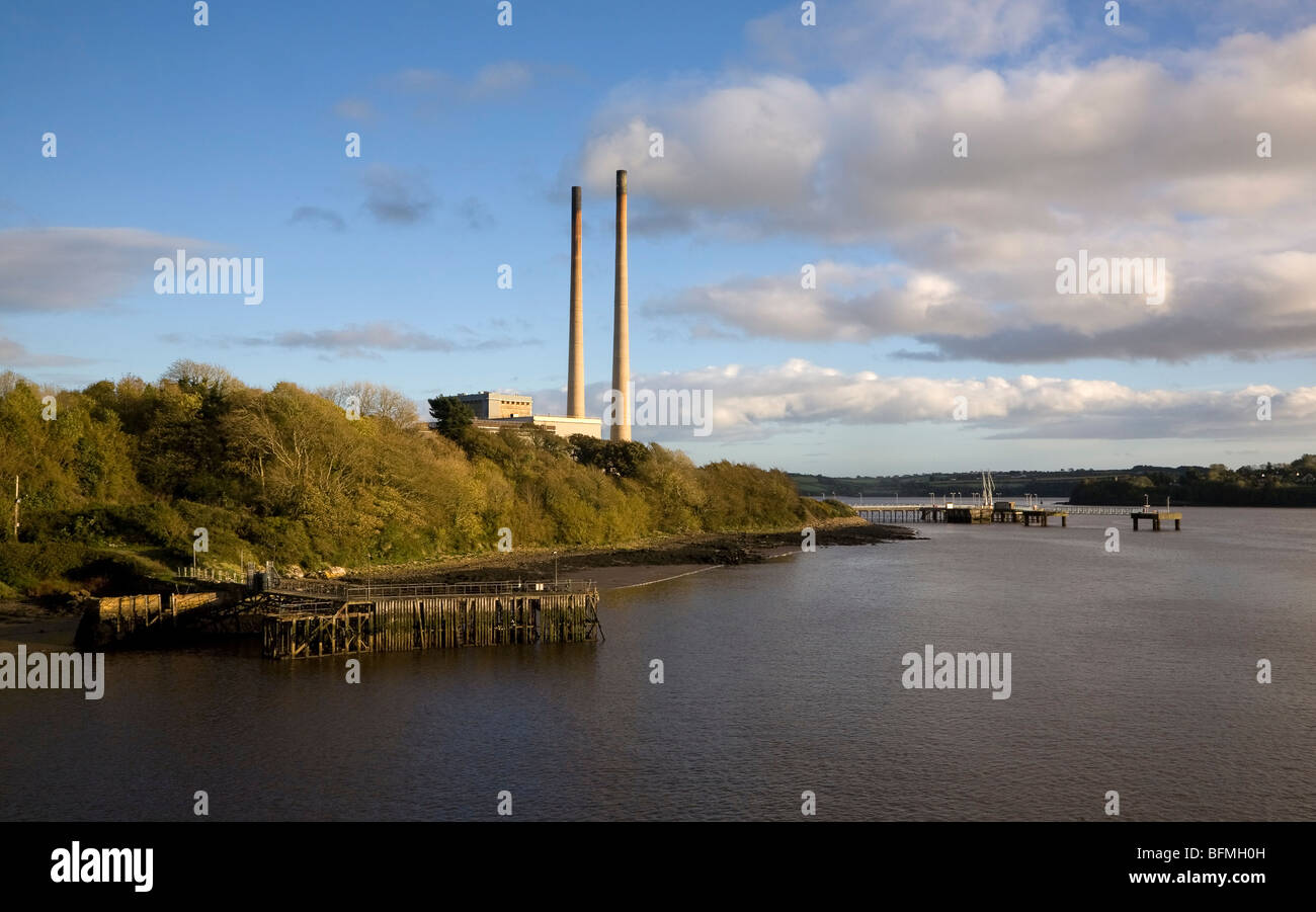 The Combined Cycle Gas Turbine Power Plant Power Station, On Great Island County Wexford, Ireland - Stock Image
