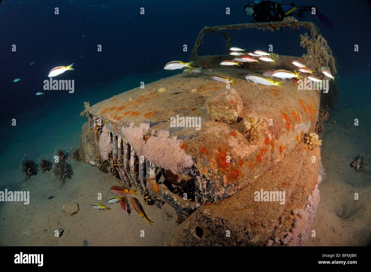 Underwater wreck of car in tropical water, Nuweiba, 'Red Sea', Egypt - Stock Image