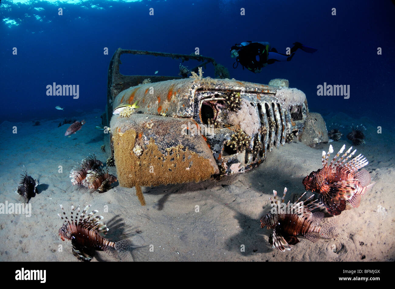 Underwater wreck of car in tropical water, Nuweiba,  'Red Sea' , Egypt - Stock Image