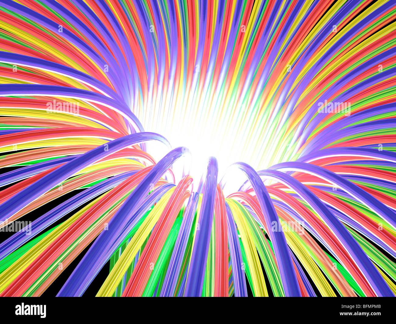 Multicoloured light ray funnel, artwork Stock Photo