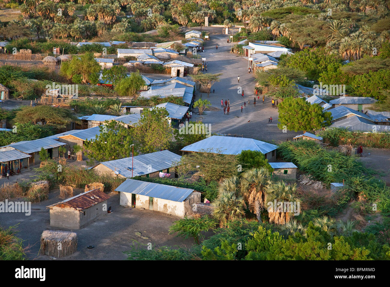 An aerial view of the small town of Loiengalani which is situated beside springs near the eastern shores of Lake - Stock Image