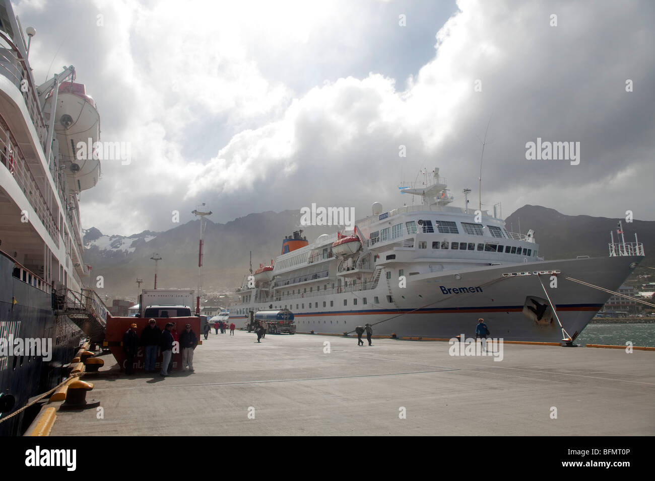 Argentina, Ushuaia, Terra del Fuego, during the cruising season alot of the expedition ships use Argentinas most - Stock Image
