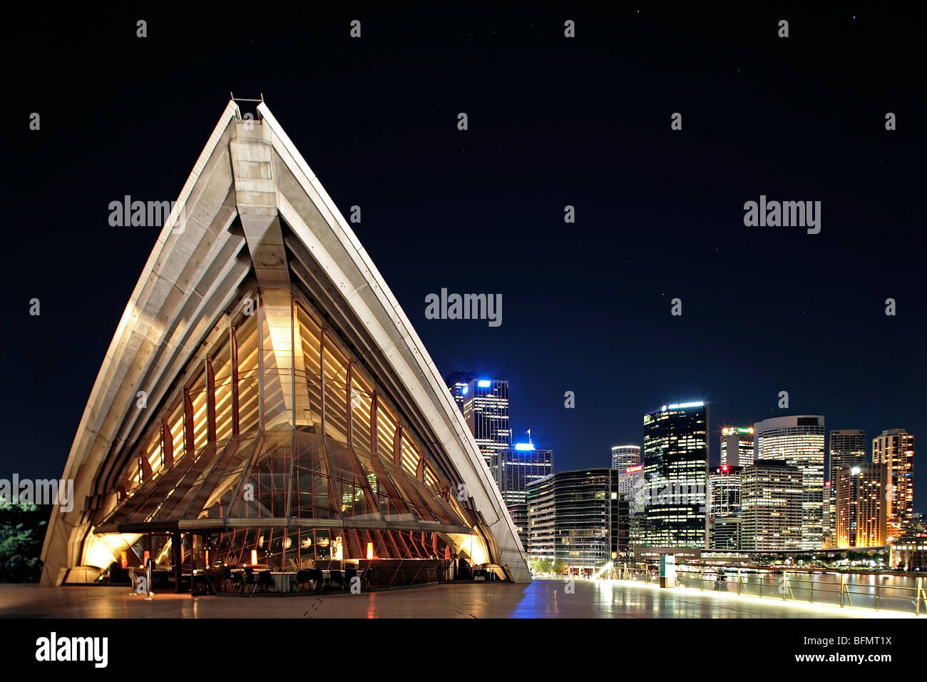 Australia, New South Wales, Sydney,  Kirribilli, The Rocks, Bennelong, Guillaume at Bennelong Restaurant by night. - Stock Image