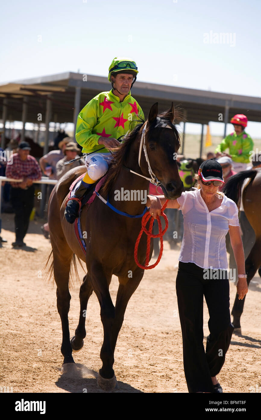 Australia, Queensland, Birdsville.  Horse and jockey at the annual Birdsville Cup Races. Stock Photo
