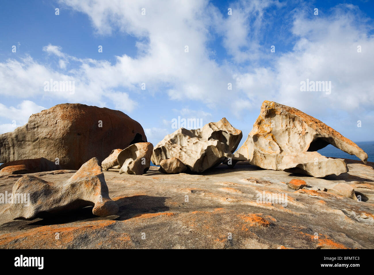 Australia, South Australia, Kangaroo Island.  The wind-eroded granite of the Remarkable Rocks in Flinders Chase - Stock Image