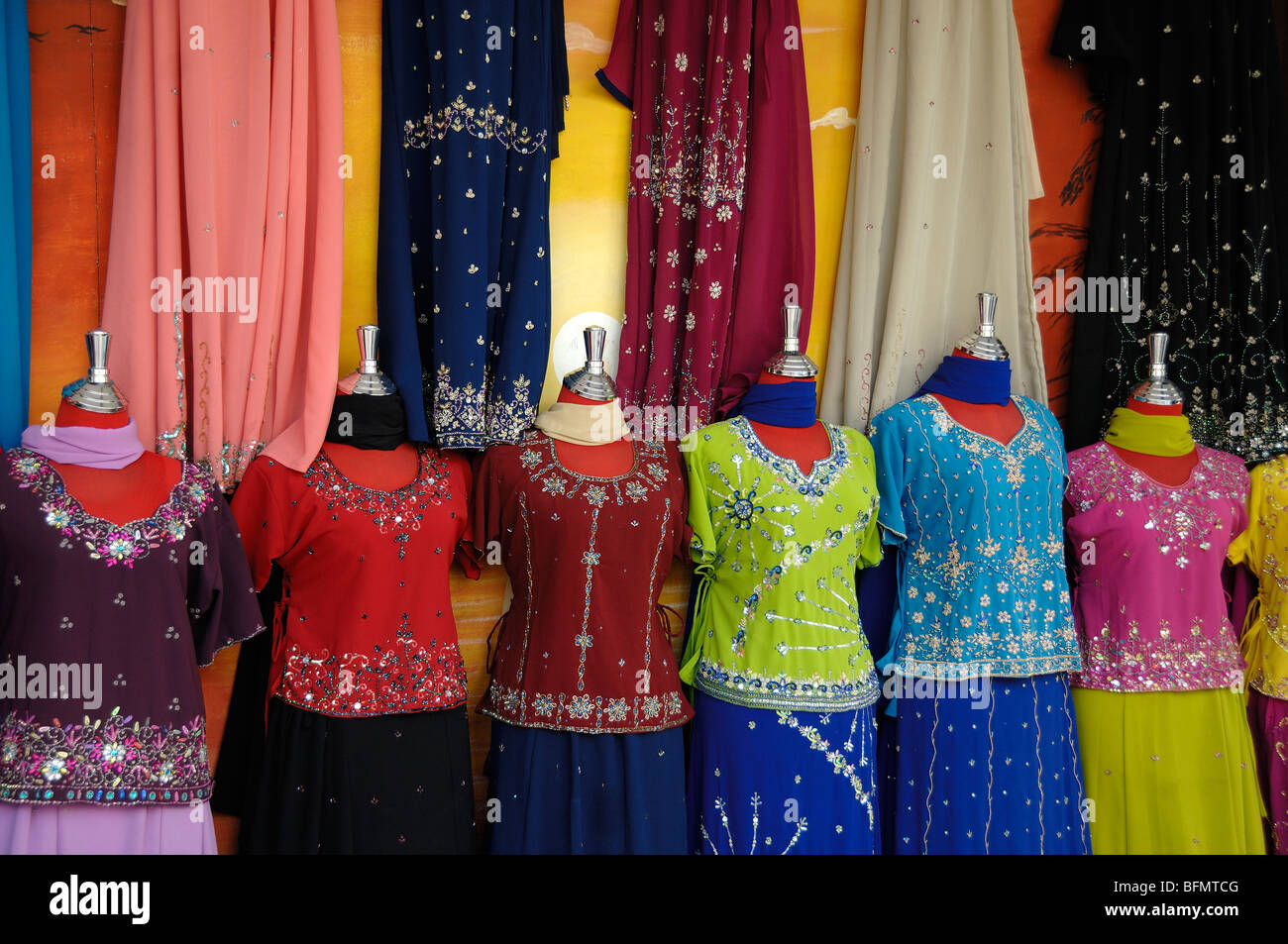 Display Of Indian Clothes Fashions For Sale In Shop Or Store In