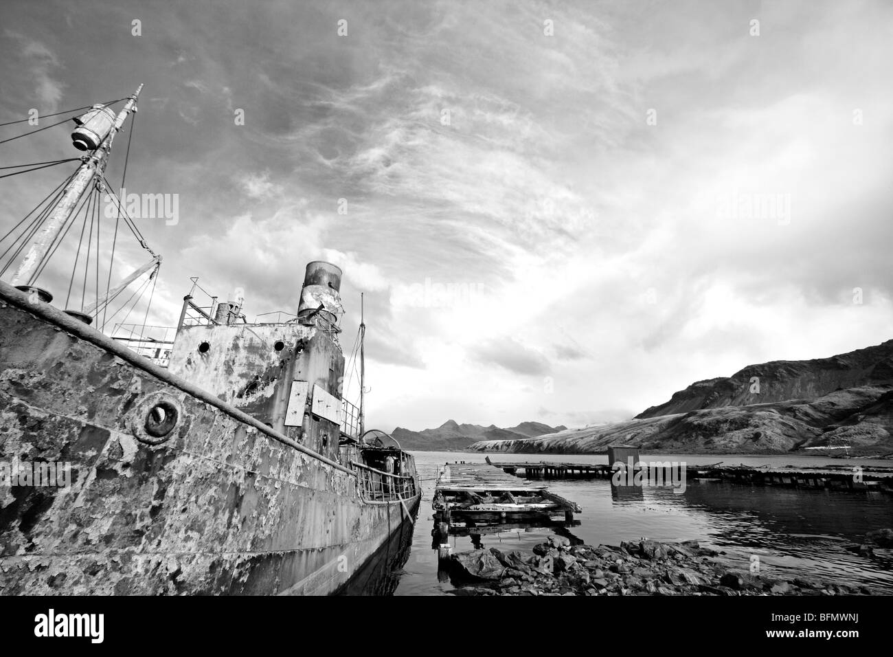 South Georgia and South Sandwich Islands, South Georgia, Cumberland Bay, Grytviken. The abandoned Norwegian whalers - Stock Image