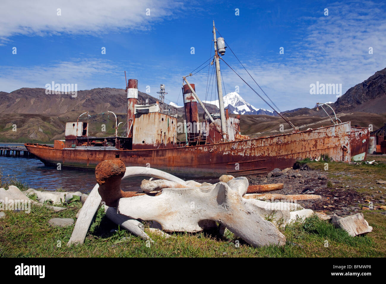 South Georgia and the South Sandwich Islands, South Georgia, Cumberland Bay, Grytviken. A wasteland Norwegian whaling Stock Photo