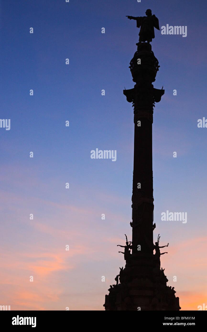 Spain, Cataluna, Barcelona, Ciutat Vella, the Colum statue in honour of Christopher Columbus at sunset. - Stock Image