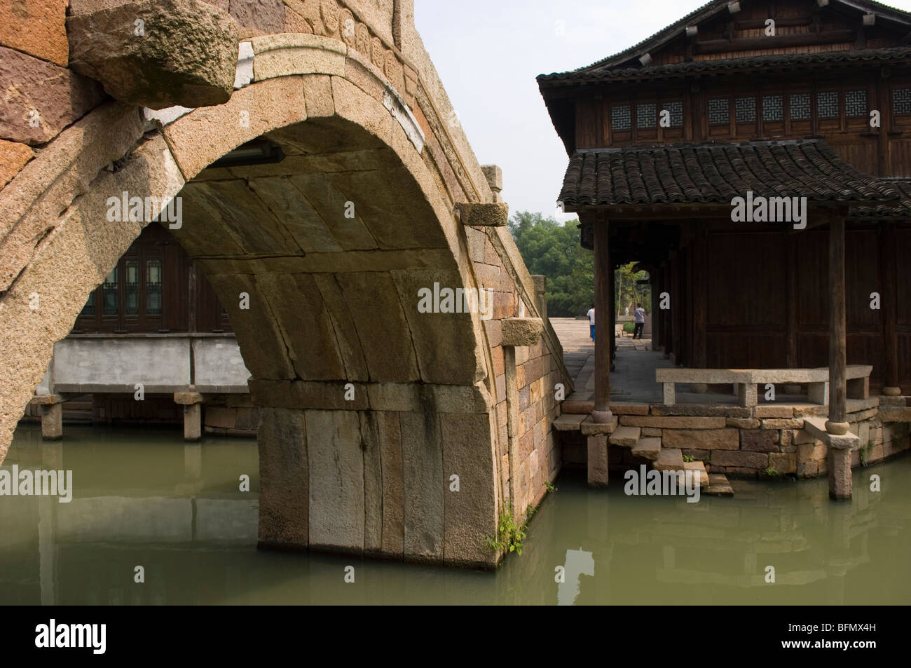 Arched bridge in the water town Wuzhen.  Zhejiang province, China. - Stock Image