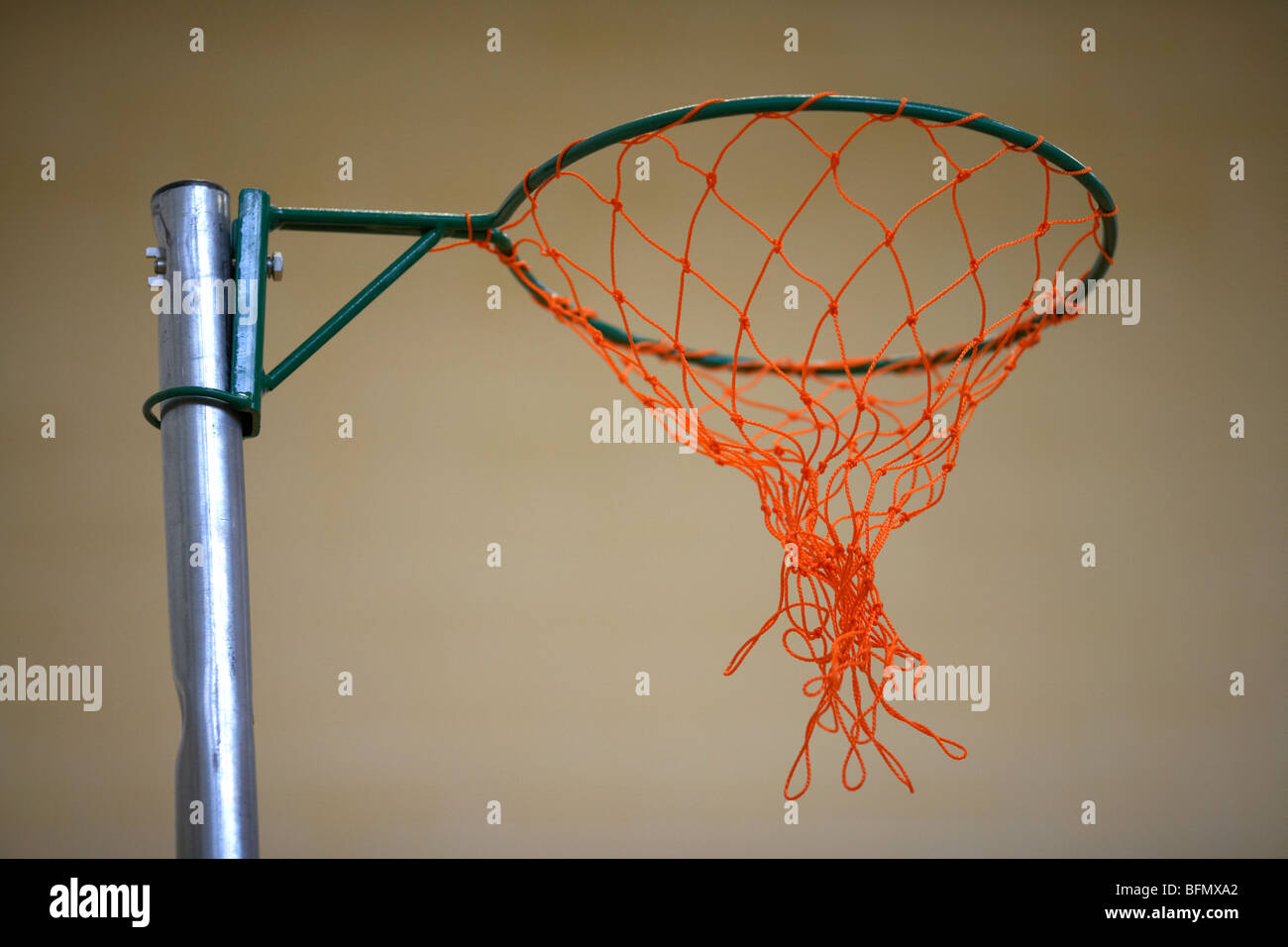 netball net in a school gym sports hall selective focus Stock Photo