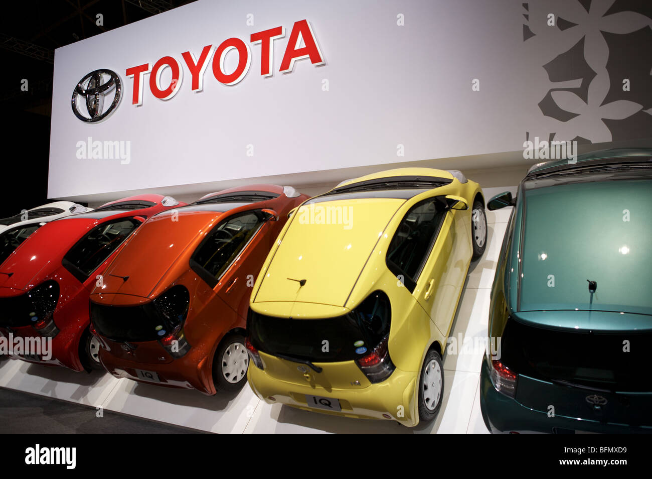 Toyota cars are displayed at the 2009 Tokyo motorshow. - Stock Image
