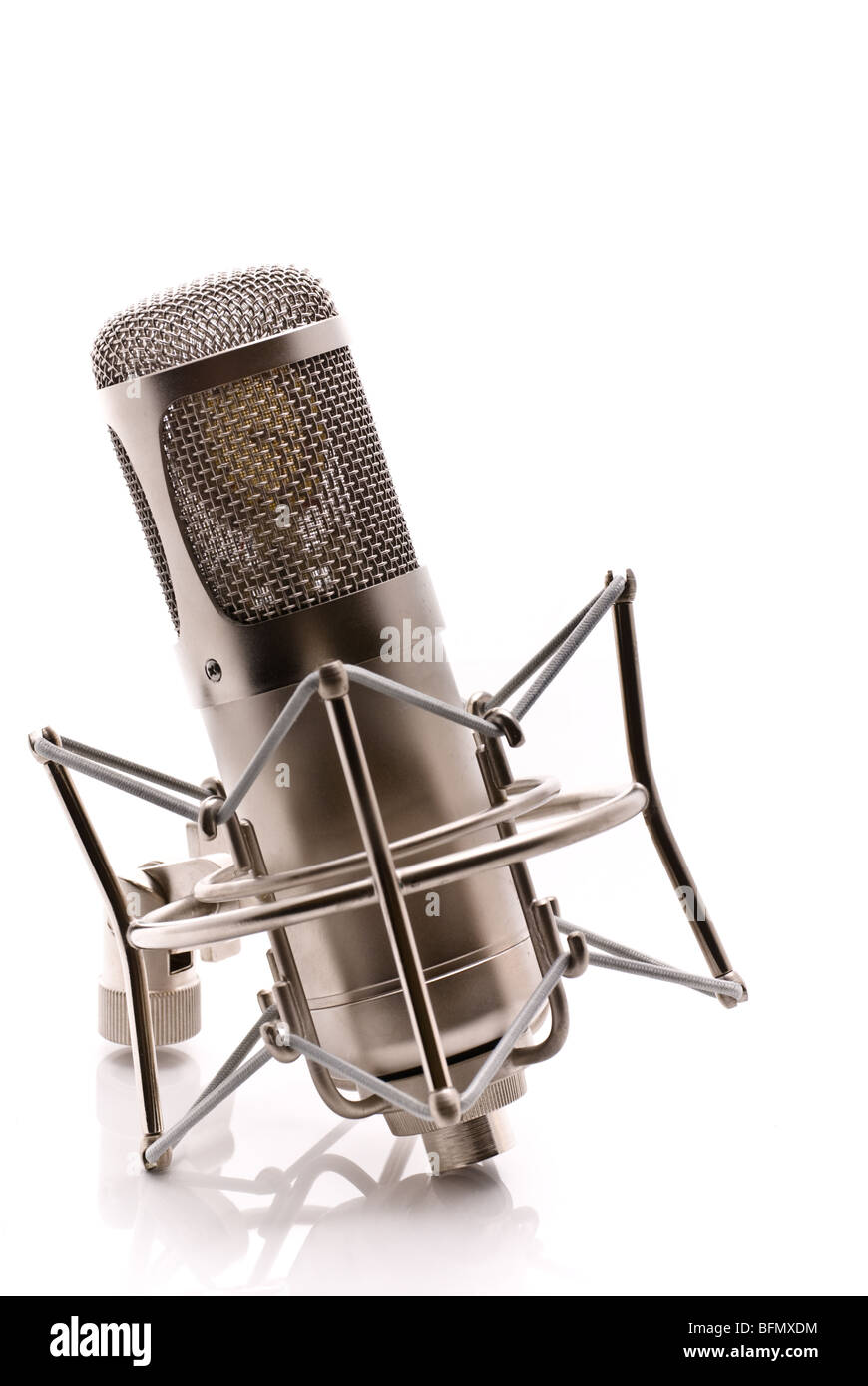 A large diaphragm microphone and shockmount with a partial reflection against a white background - Stock Image