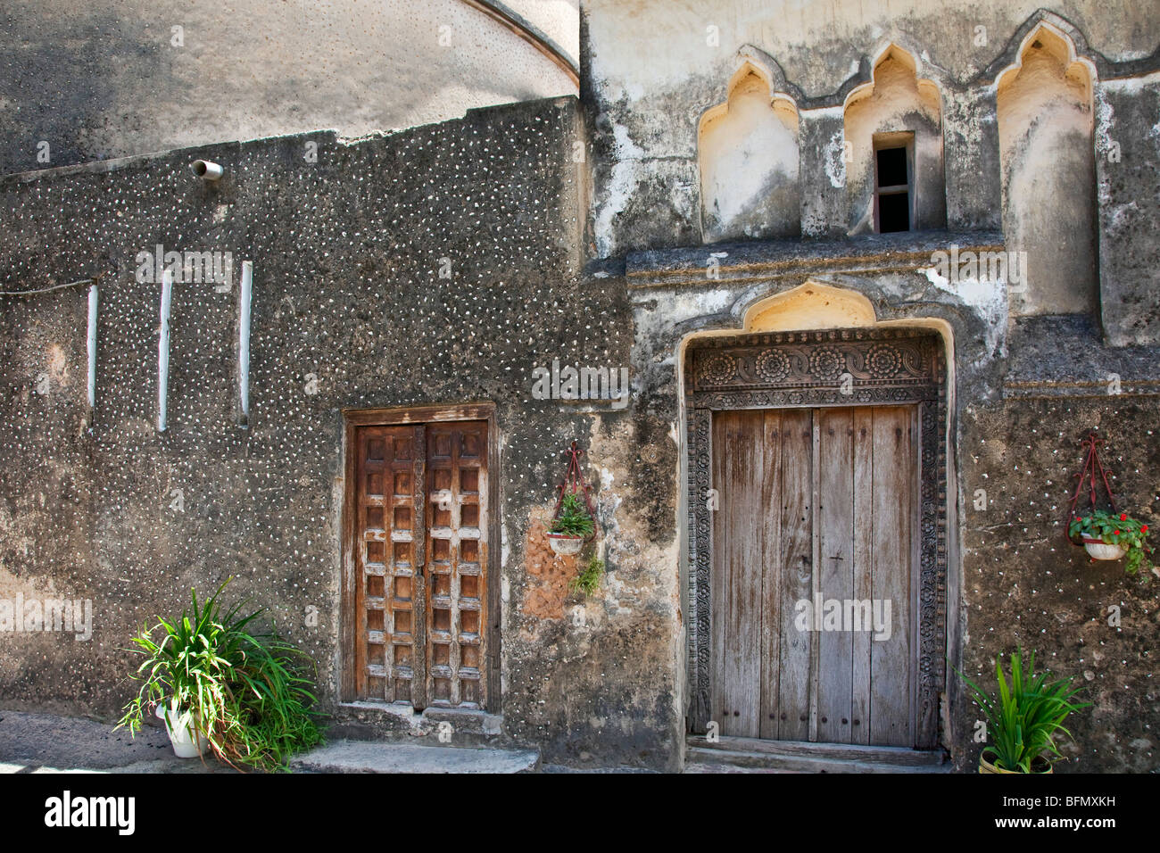 Tanzania, Zanzibar, Stone Town. Old doors of the Anglican Cathedral Church of Christ, its foundation laid at Christmas - Stock Image