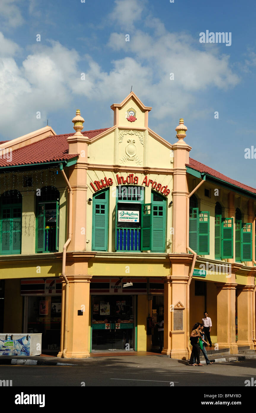 Little India Shopping Arcade, Converted from Restored Colonial-era Shophouses, Little India, Singapore - Stock Image