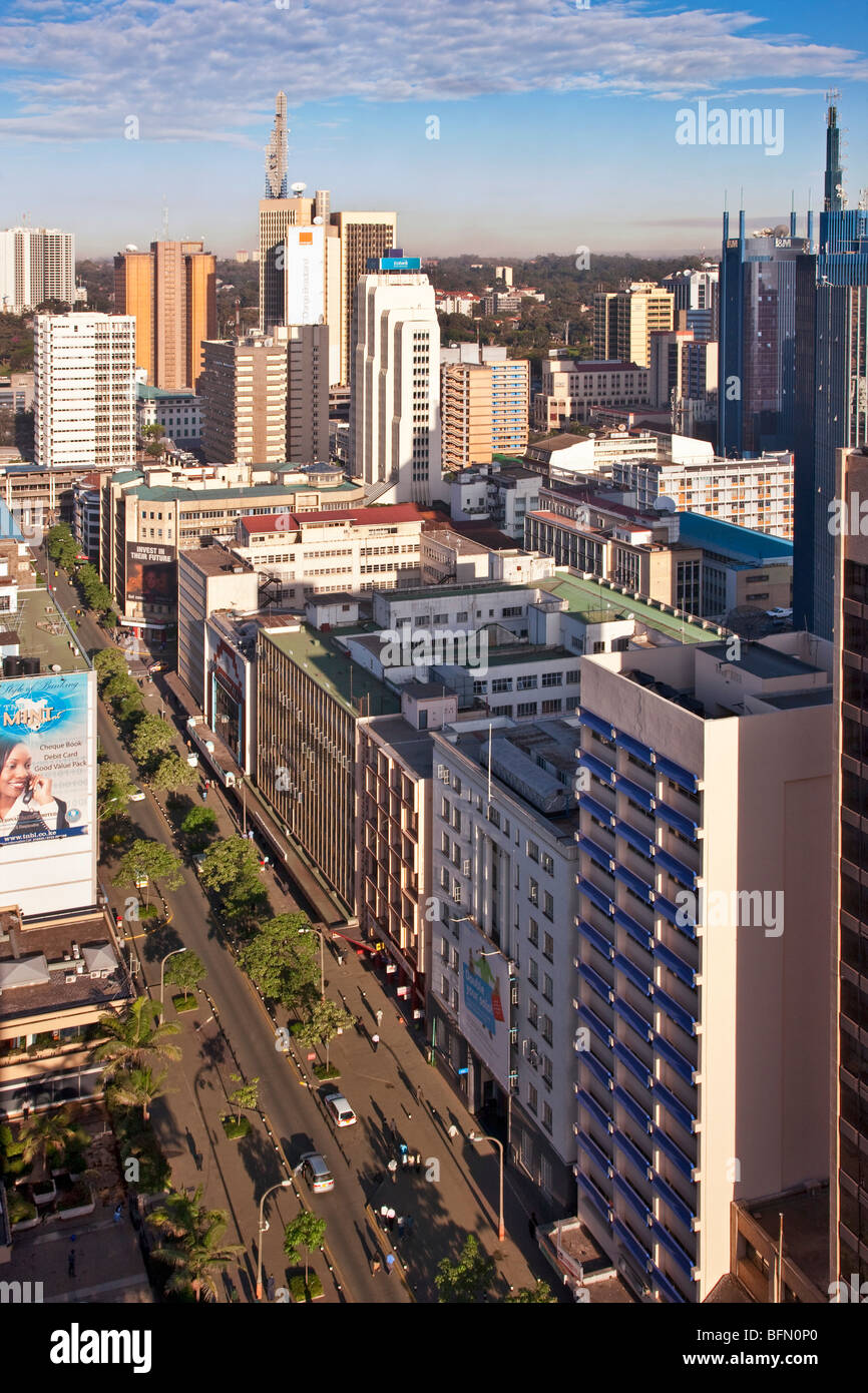 Kenya, Nairobi. The central business district of Nairobi in early morning sunlight. - Stock Image