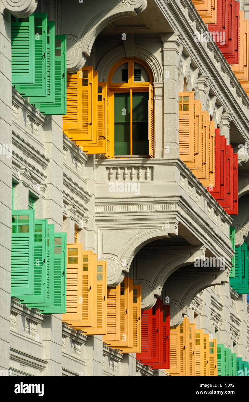 Multi-Colored or Coloured Painted Shutters, MICA Building (Ministry of Information, Communication & the Arts), - Stock Image