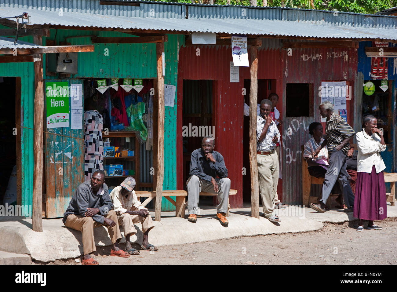 Kenya, Baringo District. People meet, relax and chat at the small trading centre of Koriema - Stock Image