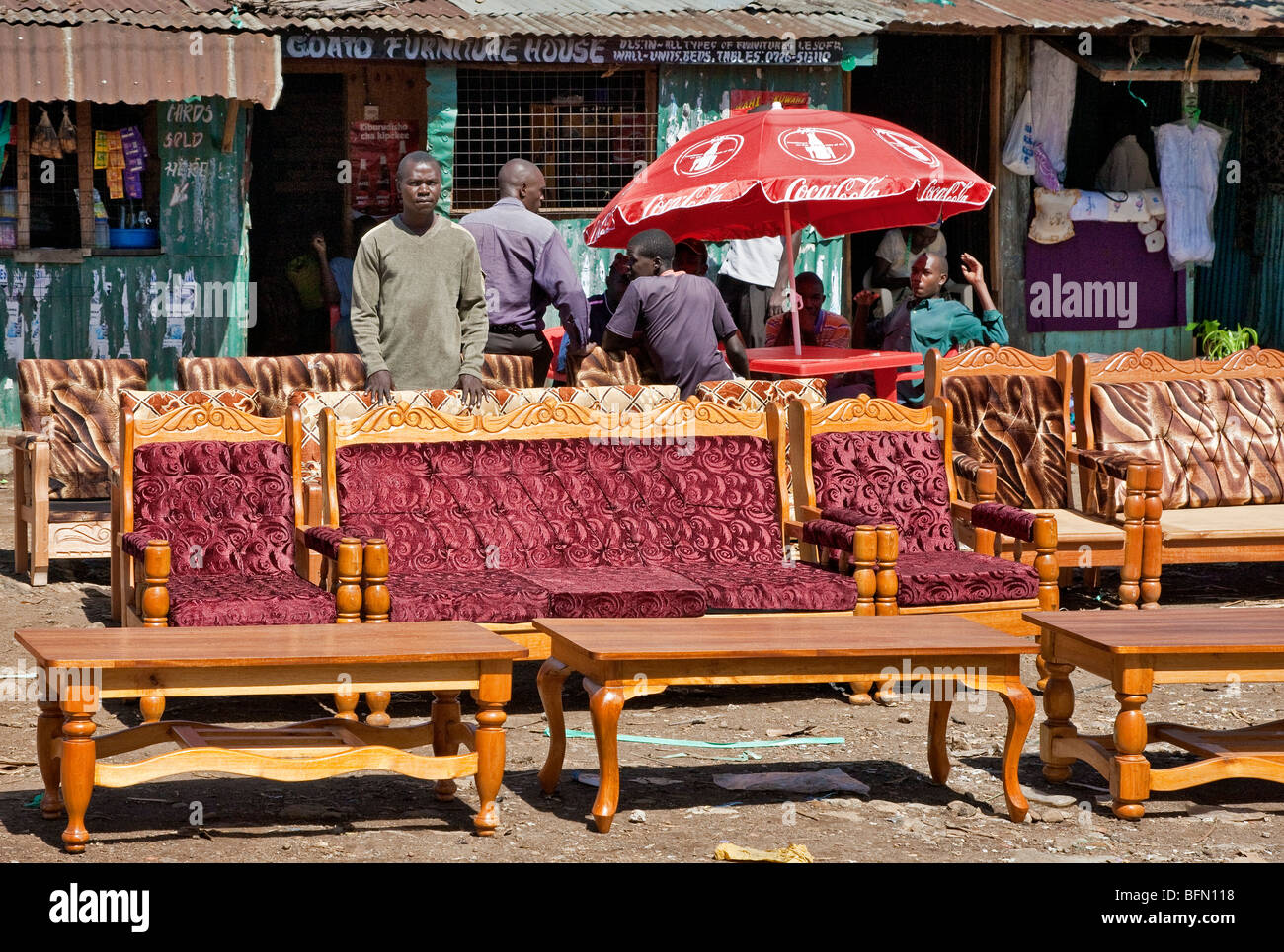 Kenya Kisumu District A Furniture Maker And Upholsterer Displays