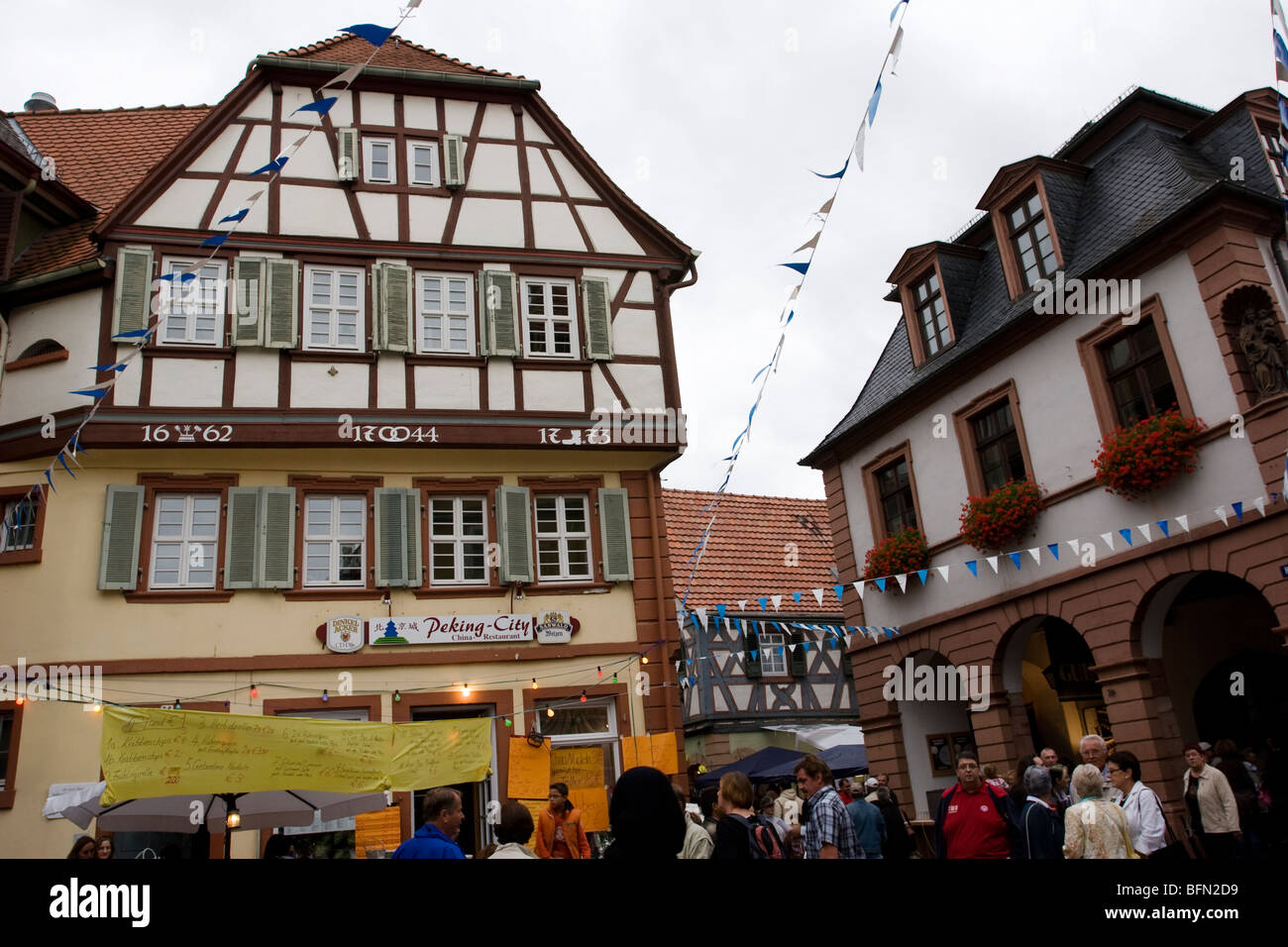 A flea market in the historical center of Ladenburg, Germany - Stock Image