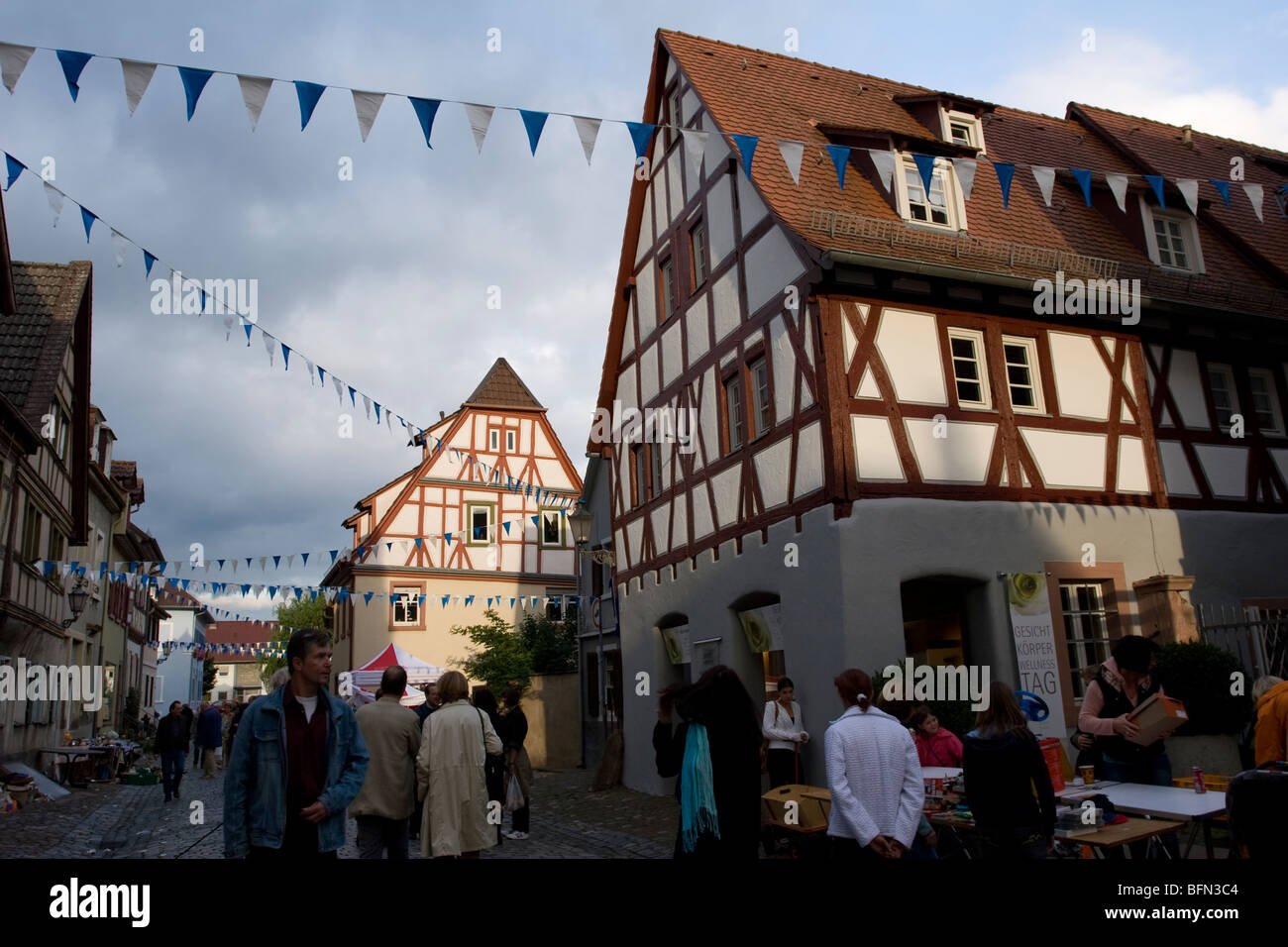 A flea market in the city center of Ladenburg, Germany - Stock Image