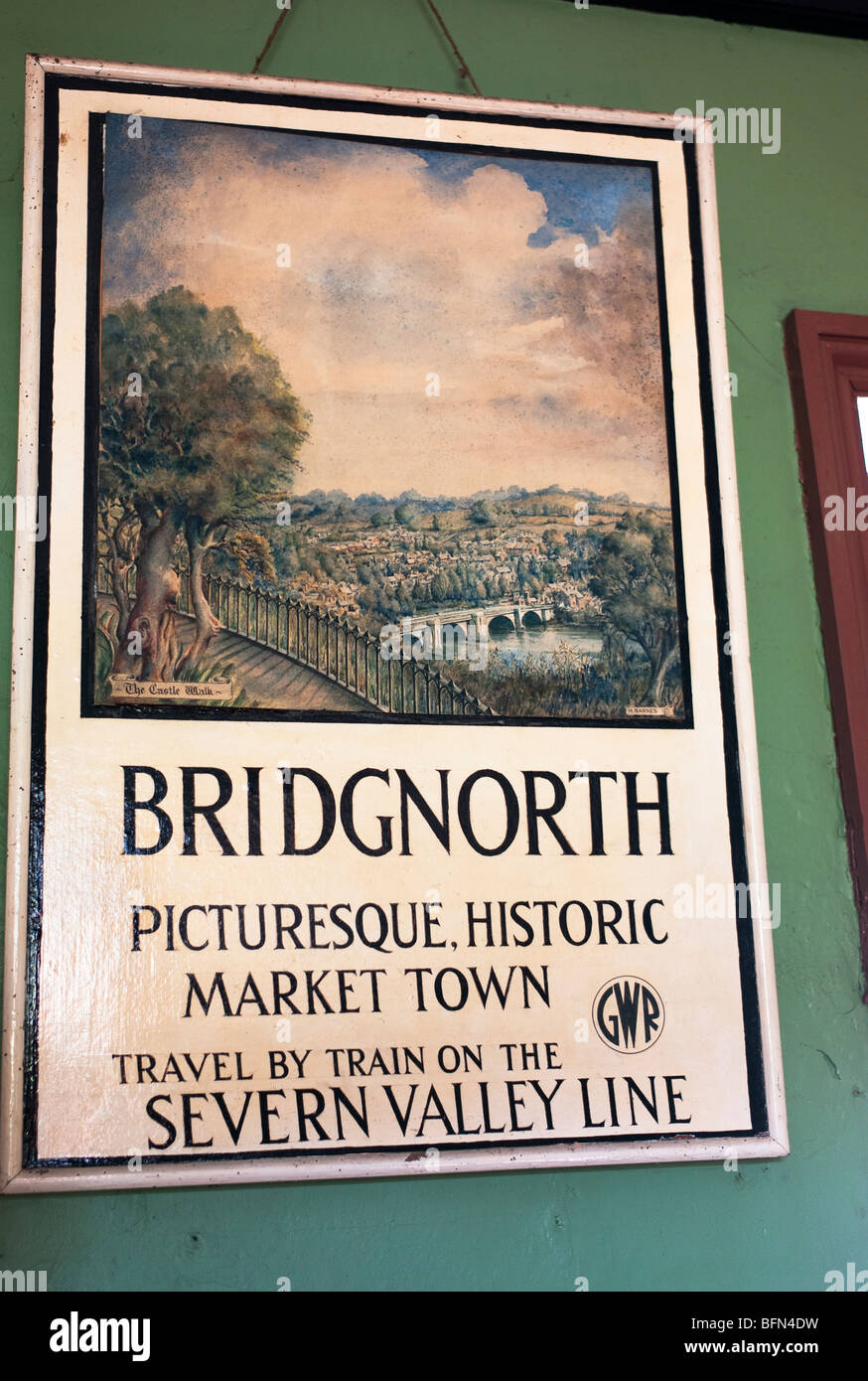Old pictorial travel poster featuring Bridgnorth Shropshire England UK - Stock Image