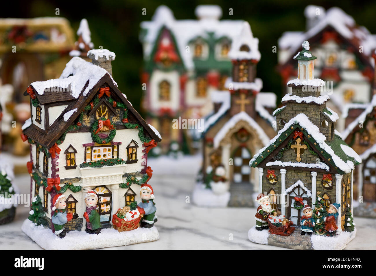 christmas model village landscape stock image - Miniature Christmas Village