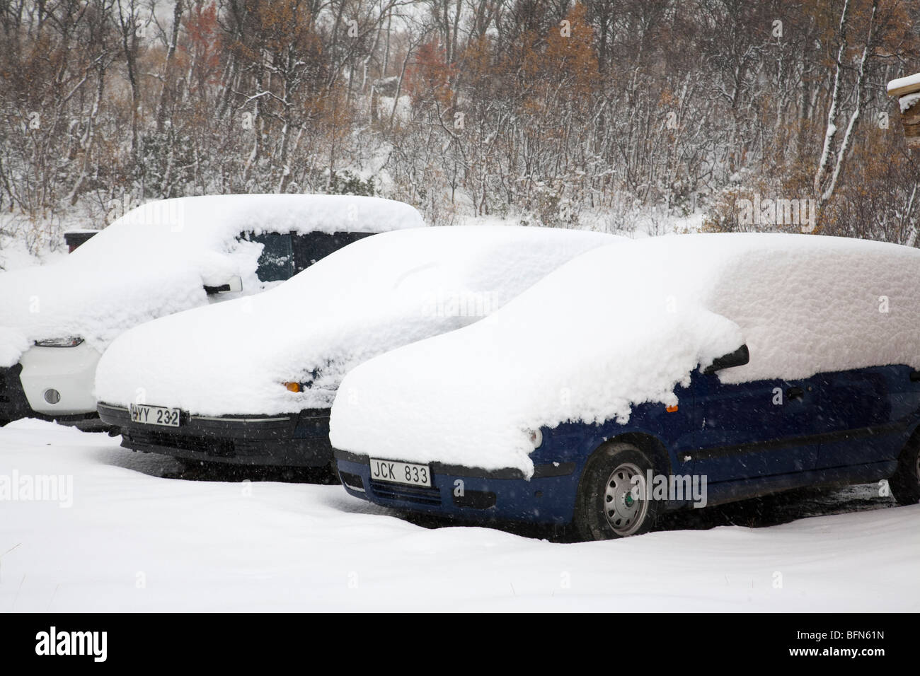 cars in snow snowcovered cars - Stock Image