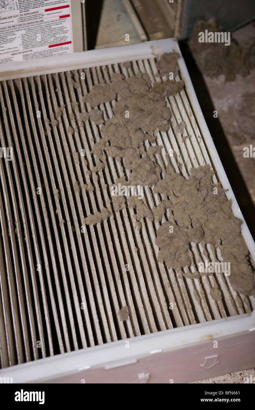 ARLINGTON, VIRGINIA, USA - Dirty paper air filter on home furnace.