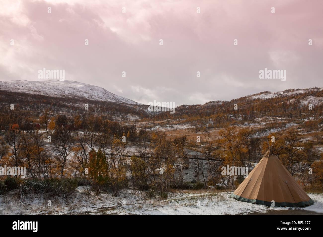 Storulvån fjell  sami hut cot sweden - Stock Image