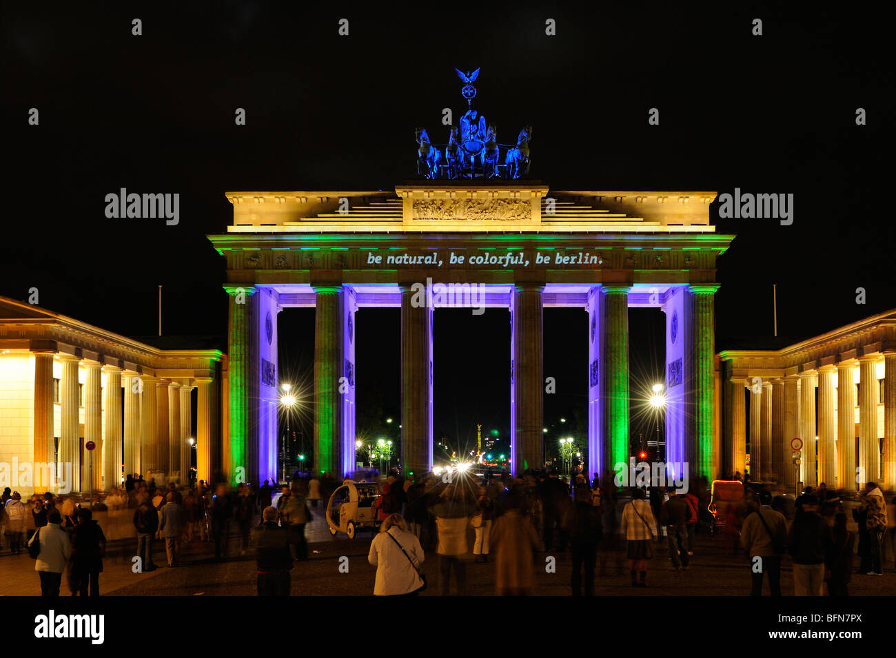 Brandenburg Gate at night, blue Quadriga, Festival of Lights, Berlin, Germany, Europe - Stock Image
