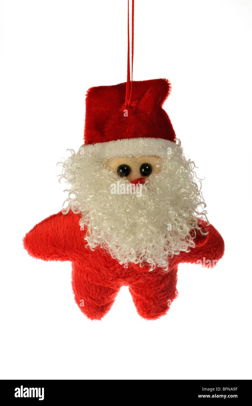 Hanging Christmas figure as Santa Claus / Father Christmas - Stock Image